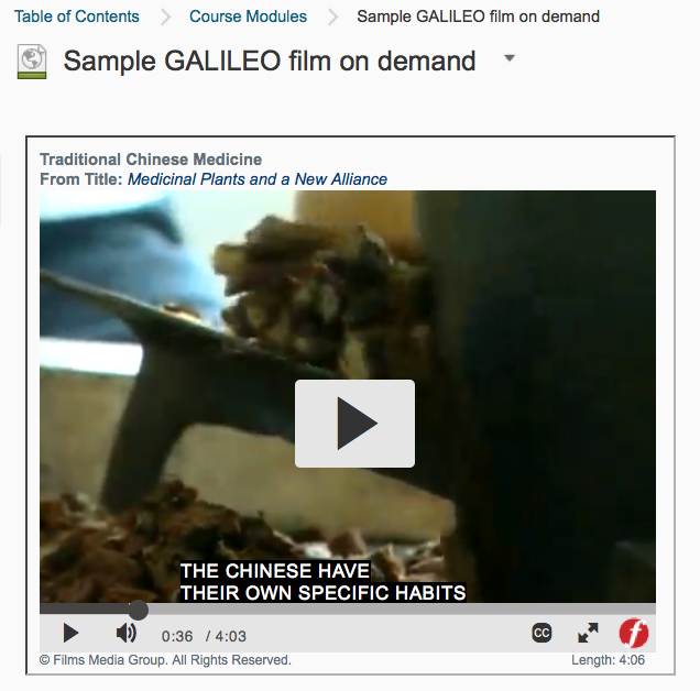 Fig. 2: Sample Video on Demand Shown in a D2L File